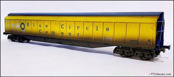 HELJAN 5025 Cargowaggon IWB Bogie Van Blue Circle Cement (Weathered), OO Gauge